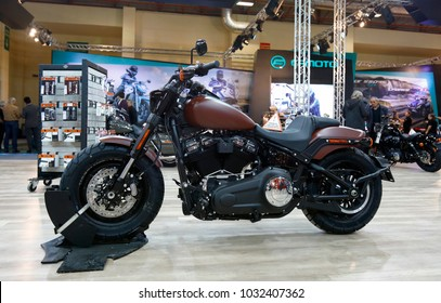 ISTANBUL, TURKEY - FEBRUARY 22, 2018: Harley Davidson Fat Bob 114 Motobike exhibited at the fair held in Istanbul Expo Center.