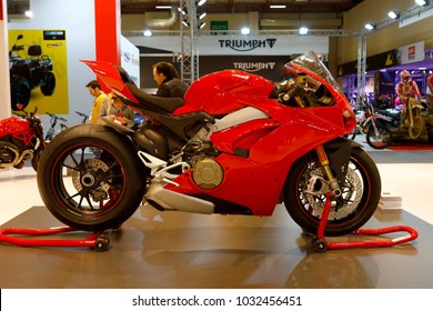 ISTANBUL, TURKEY - FEBRUARY 22, 2018: Ducati Panigale V4S Motobike exhibited at the fair held in Istanbul Expo Center.