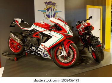 ISTANBUL, TURKEY - FEBRUARY 22, 2018: MV Agusta F3 RC Motobike exhibited at the fair held in Istanbul Expo Center.