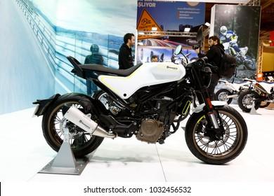 ISTANBUL, TURKEY - FEBRUARY 22, 2018: Husqvarna Vitpilen 401 Motobike exhibited at the fair held in Istanbul Expo Center.