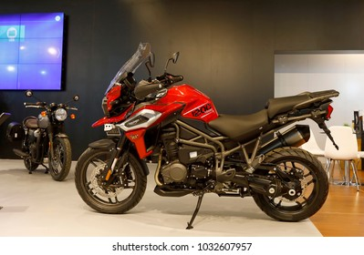 ISTANBUL, TURKEY - FEBRUARY 22, 2018: Triumph 1200 XRT on display at Moto Bike Expo in Istanbul Exhibition Center
