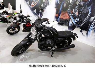 ISTANBUL, TURKEY - FEBRUARY 22, 2018: Moto Guzzi V7 III Stone on display at Moto Bike Expo in Istanbul Exhibition Center