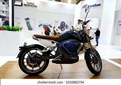 ISTANBUL, TURKEY - FEBRUARY 22, 2018: Super SOCO TC e-bike on display at Moto Bike Expo in Istanbul Exhibition Center