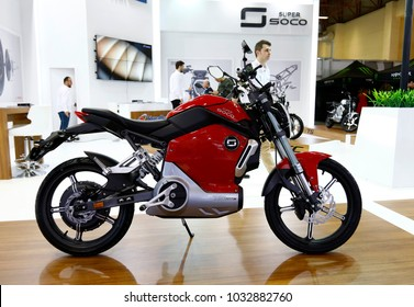ISTANBUL, TURKEY - FEBRUARY 22, 2018: Super SOCO TS 1200R on display at Moto Bike Expo in Istanbul Exhibition Center
