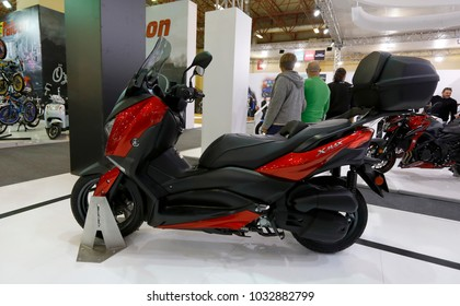 ISTANBUL, TURKEY - FEBRUARY 22, 2018: Yamaha X-Max 125 on display at Moto Bike Expo in Istanbul Exhibition Center
