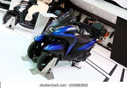 ISTANBUL, TURKEY - FEBRUARY 22, 2018: Yamaha Tricity 155 on display at Moto Bike Expo in Istanbul Exhibition Center
