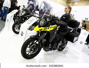 ISTANBUL, TURKEY - FEBRUARY 22, 2018: Suzuki V-Strom 250 ABS on display at Moto Bike Expo in Istanbul Exhibition Center