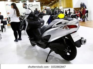 ISTANBUL, TURKEY - FEBRUARY 22, 2018: Suzuki Burgman 200 ABS on display at Moto Bike Expo in Istanbul Exhibition Center