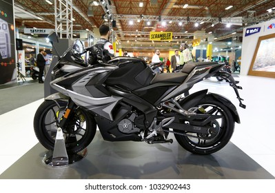 ISTANBUL, TURKEY - FEBRUARY 22, 2018: Bajaj Pulsar RS 200 on display at Moto Bike Expo in Istanbul Exhibition Center