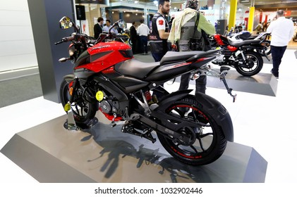 ISTANBUL, TURKEY - FEBRUARY 22, 2018: Bajaj Pulsar NS 160 on display at Moto Bike Expo in Istanbul Exhibition Center