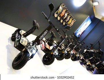 ISTANBUL, TURKEY - FEBRUARY 22, 2018: Velocifero e-scooter models on display at Moto Bike Expo in Istanbul Exhibition Center