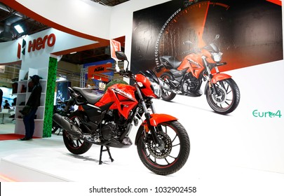 ISTANBUL, TURKEY - FEBRUARY 22, 2018: Hero Hunk 200 R on display at Moto Bike Expo in Istanbul Exhibition Center