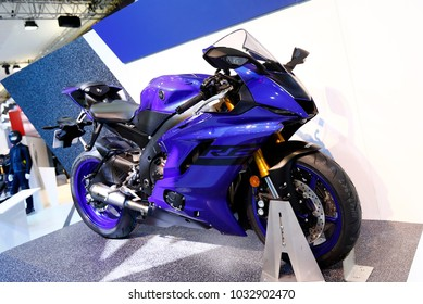 ISTANBUL, TURKEY - FEBRUARY 22, 2018: Yamaha R6 Supersport on display at Moto Bike Expo in Istanbul Exhibition Center