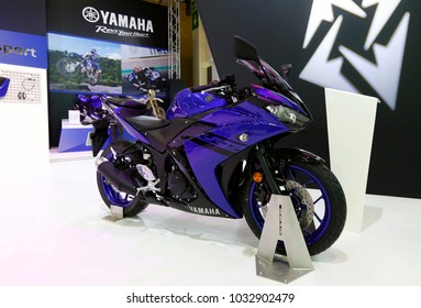 ISTANBUL, TURKEY - FEBRUARY 22, 2018: Yamaha R25 Supersport on display at Moto Bike Expo in Istanbul Exhibition Center
