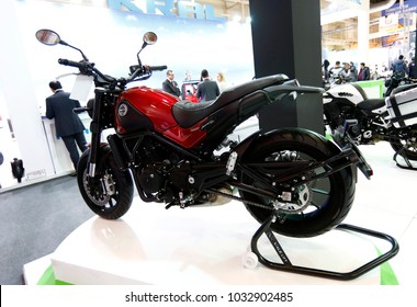 ISTANBUL, TURKEY - FEBRUARY 22, 2018: Benelli Leoncino 500 on display at Moto Bike Expo in Istanbul Exhibition Center
