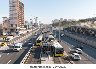 Istanbul, Turkey - February 23, 2017: Merter is traveling at Metrobus station. Merter District in Istanbul city