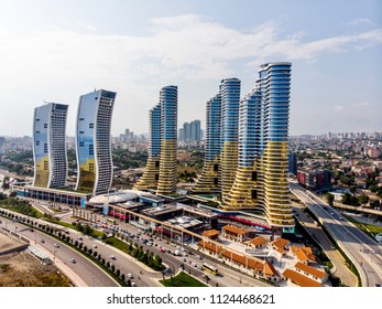 Istanbul, Turkey - February 23, 2018: Aerial Drone View of IstMarina Skyscrapers Avm Shopping Mall in Istanbul Kartal