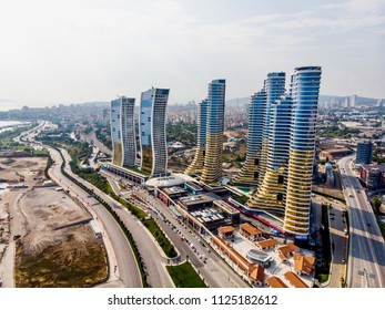 Istanbul, Turkey - February 23, 2018: Aerial Drone View of IstMarina Skyscrapers Avm Shopping Mall in Istanbul Kartal. Architectural Concept.
