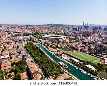 Istanbul, Turkey - February 23, 2018: Aerial Drone View Kadikoy Moda Kurbagalidere Cityscape