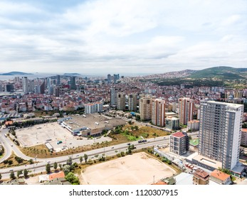 Istanbul, Turkey - February 23, 2018:Aerial Drone View of Unplanned Urbanization Istanbul Kartal Yakacik Real M1 Avm. Cityscape.