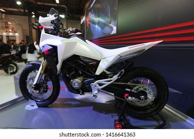 ISTANBUL, TURKEY - FEBRUARY 23, 2019: Honda CB125X on display at Motobike Istanbul in Istanbul Exhibition Center