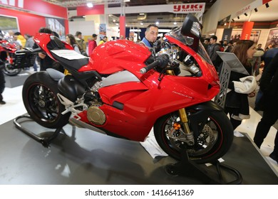 ISTANBUL, TURKEY - FEBRUARY 23, 2019: Ducati Panigale V4 on display at Motobike Istanbul in Istanbul Exhibition Center