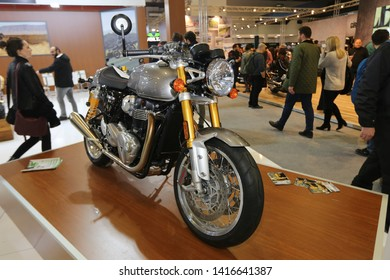 ISTANBUL, TURKEY - FEBRUARY 23, 2019: Triumph Motorcycle on display at Motobike Istanbul in Istanbul Exhibition Center