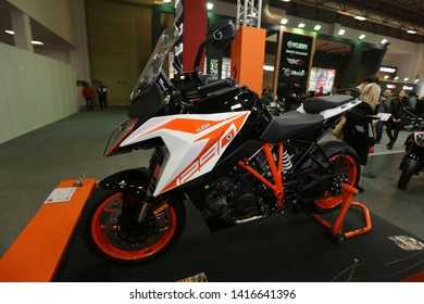 ISTANBUL, TURKEY - FEBRUARY 23, 2019: KTM 1290 on display at Motobike Istanbul in Istanbul Exhibition Center