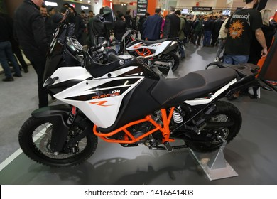 ISTANBUL, TURKEY - FEBRUARY 23, 2019: KTM 1090 on display at Motobike Istanbul in Istanbul Exhibition Center