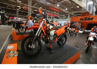 ISTANBUL, TURKEY - FEBRUARY 23, 2019: KTM Motorcycle on display at Motobike Istanbul in Istanbul Exhibition Center