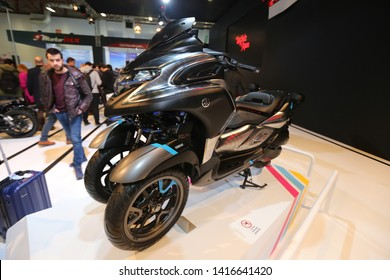 ISTANBUL, TURKEY - FEBRUARY 23, 2019: Yamaha Motorcycle on display at Motobike Istanbul in Istanbul Exhibition Center