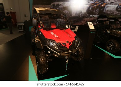 ISTANBUL, TURKEY - FEBRUARY 23, 2019: ZForce 800 EX ATV on display at Motobike Istanbul in Istanbul Exhibition Center