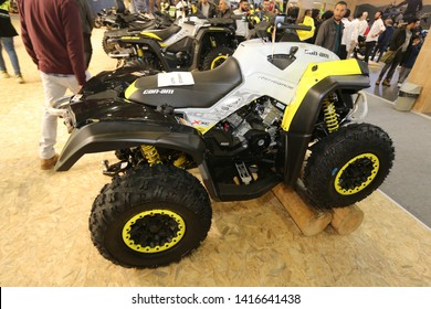 ISTANBUL, TURKEY - FEBRUARY 23, 2019: Can-Am Renegade ATV on display at Motobike Istanbul in Istanbul Exhibition Center