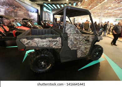 ISTANBUL, TURKEY - FEBRUARY 23, 2019: Cfmoto UForce 1000 ATV on display at Motobike Istanbul in Istanbul Exhibition Center