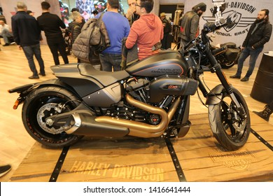 ISTANBUL, TURKEY - FEBRUARY 23, 2019: Harley-Davidson FXDR 114 on display at Motobike Istanbul in Istanbul Exhibition Center