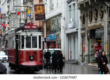 ISTANBUL, TURKEY - FEBRUARY 24. 2009: Istiklal Caddesi Beyoglu street with historic tram
