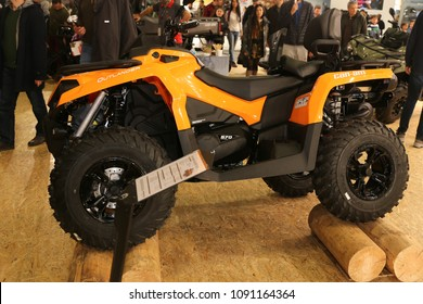 ISTANBUL, TURKEY - FEBRUARY 24, 2018: Can-Am Outlander ATV on display at Motobike Istanbul in Istanbul Exhibition Center