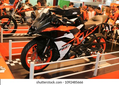 ISTANBUL, TURKEY - FEBRUARY 24, 2018: KTM RC 390 on display at Motobike Istanbul in Istanbul Exhibition Center