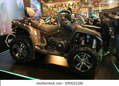 ISTANBUL, TURKEY - FEBRUARY 24, 2018: Cfmoto Cforce 800 ATV on display at Motobike Istanbul in Istanbul Exhibition Center