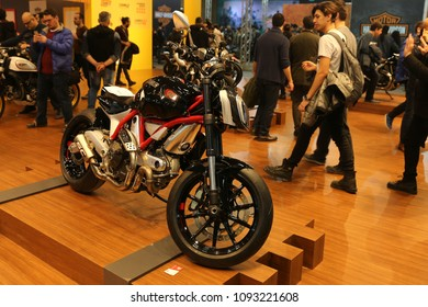 ISTANBUL, TURKEY - FEBRUARY 24, 2018: Ducati Scrambler on display at Motobike Istanbul in Istanbul Exhibition Center