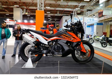 ISTANBUL, TURKEY - FEBRUARY 24, 2019: KTM 790 Adventure on display at Motobike Istanbul in Istanbul Exhibition Center