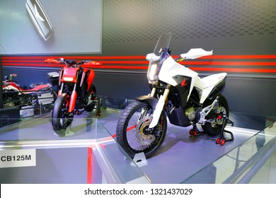 ISTANBUL, TURKEY - FEBRUARY 24, 2019: Honda CB 125M and CB125X on display at Motobike Istanbul in Istanbul Exhibition Center