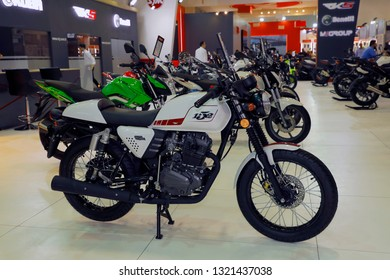 ISTANBUL, TURKEY - FEBRUARY 24, 2019: RKS 152 Cafe Racer on display at Motobike Istanbul in Istanbul Exhibition Center