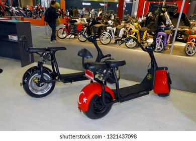 ISTANBUL, TURKEY - FEBRUARY 24, 2019: Arora electric scooter on display at Motobike Istanbul in Istanbul Exhibition Center