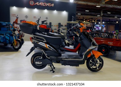 ISTANBUL, TURKEY - FEBRUARY 24, 2019: Arora electric bike on display at Motobike Istanbul in Istanbul Exhibition Center