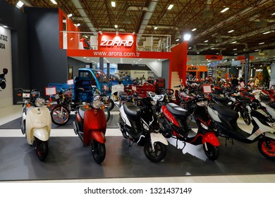 ISTANBUL, TURKEY - FEBRUARY 24, 2019: Arora stand on display at Motobike Istanbul in Istanbul Exhibition Center