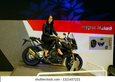 ISTANBUL, TURKEY - FEBRUARY 24, 2019: Yamaha Hyper Naked on display at Motobike Istanbul in Istanbul Exhibition Center