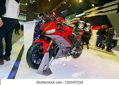 ISTANBUL, TURKEY - FEBRUARY 24, 2019: Yamaha R25 on display at Motobike Istanbul in Istanbul Exhibition Center