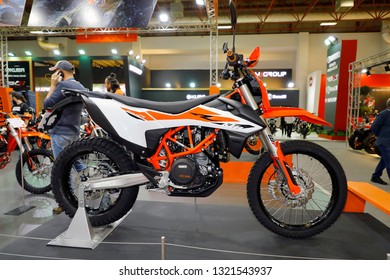 ISTANBUL, TURKEY - FEBRUARY 24, 2019: KTM Enduro R on display at Motobike Istanbul in Istanbul Exhibition Center