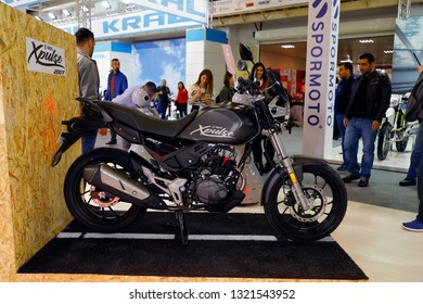 ISTANBUL, TURKEY - FEBRUARY 24, 2019: Hero Xpulse 200T on display at Motobike Istanbul in Istanbul Exhibition Center